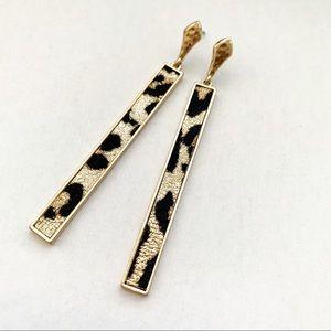 Sleek Leopard Bar Earrings